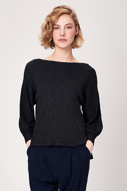 Black Knitted Puffy Long Sleeve Jumper