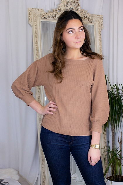 Brown Knitted Puffy Long Sleeve Jumper