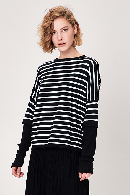 Black Striped Long Sleeved Layered Knit Top