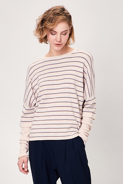 Cream Striped Long Sleeved Layered Knit Top