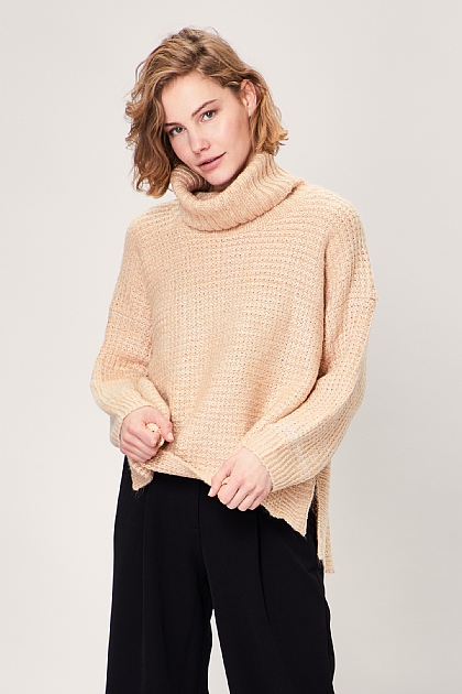 Beige Oversized Roll Turtle Neck Knitted Jumper