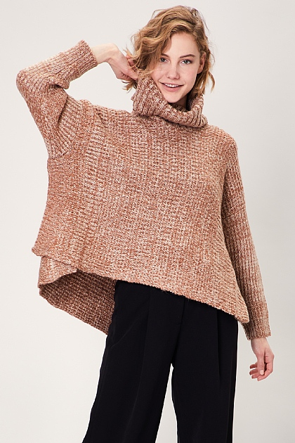 Brown Oversized Roll Turtle Neck Knitted Jumper