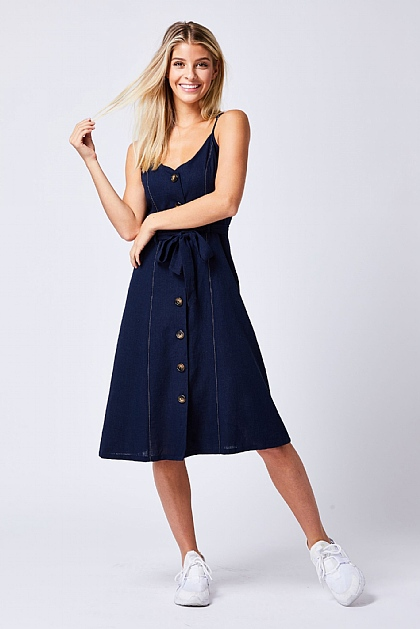 Navy Buttoned Strappy Midi Dress