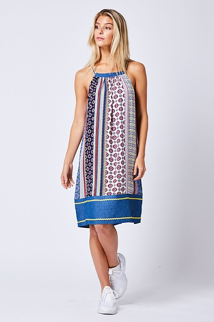 Multi Patterned Halterneck Mini Dress