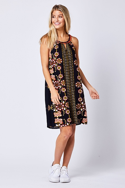 Multi Navy Paisley Halter Mini Dress
