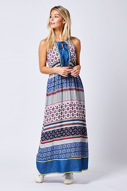 Multi Paisley High Neck Maxi Beach Dress