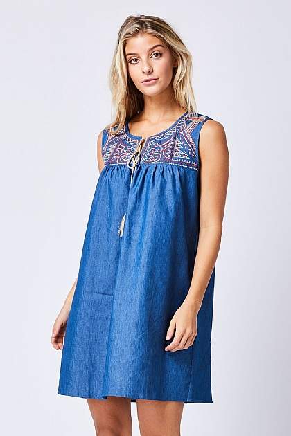 Blue Denim Sleeveless Embroidered Mini Dress