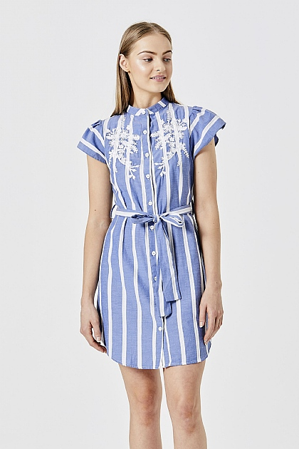 Light Blue Embroidered Shirt Mini Dress