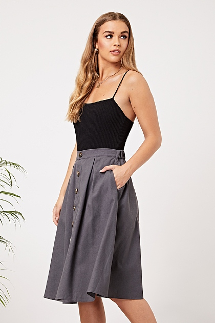 Charcoal Grey Button up Midi Skirt