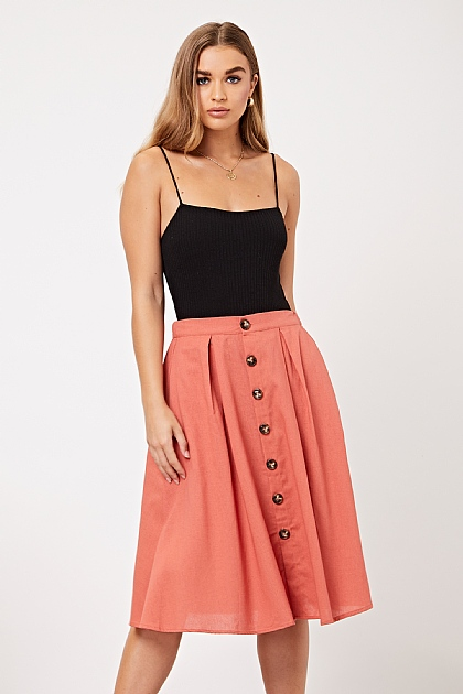 Rust Orange Button up Midi Skirt