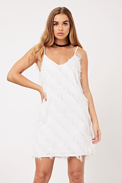 White Fringe Tassel Cami Mini Dress