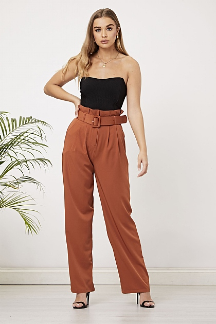 Orange Wide Leg Self Belted Trousers