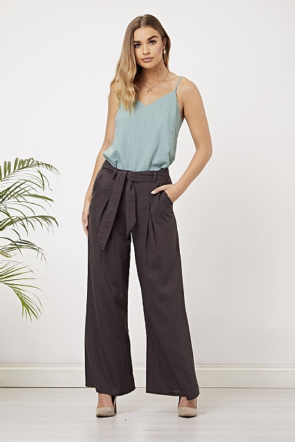 Grey Pleated Self Belted Work Trousers