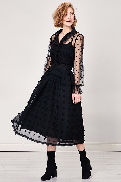Black Chiffon Pom Dobby Sheer Midi Skirt