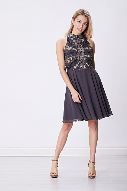 Grey Purple Embellished Halterneck Mini Dress