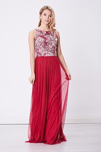 Deep Pink Embellished Maxi Dress