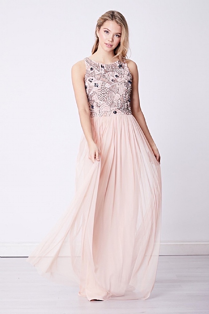 Bridesmaid Embellished Sequin High Neck Maxi Dress in Light Pink