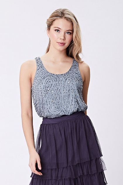 Grey Sequin Cami Embellished Top