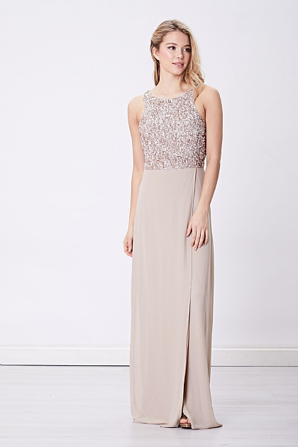 Nude Beige Embellished Maxi Dress with Side Slit