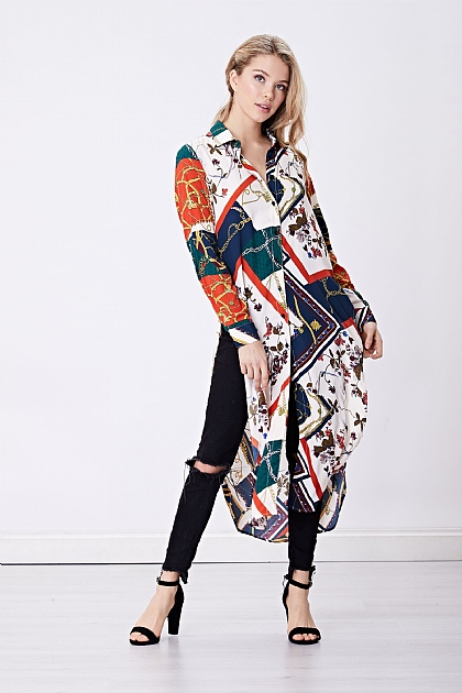 Scarf Print Satin Midi Shirt Dress