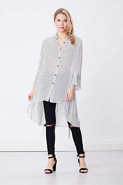 White Polka Dot Sheer Oversized Blouse