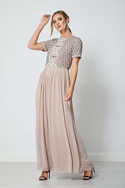 Mink Nude Short Sleeve Embellished Maxi Dress