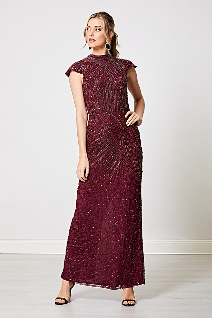 Embellished High Neck Long Dress in Burgundy