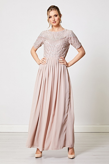 Mink Short Sleeve Embellished Maxi Dress