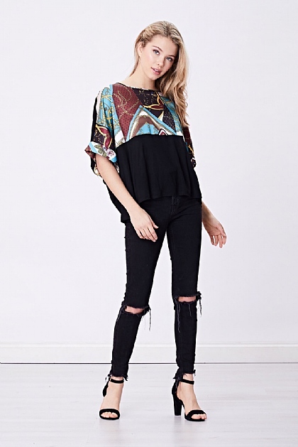 Black Chain Print Oversized T-shirt