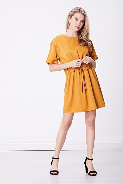 Mustard Brown Tie Waist Mini Dress