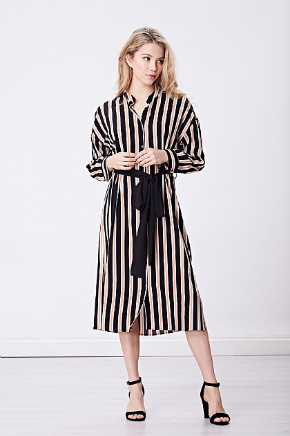 Pink Black Striped Shirt Dress Tie Waist
