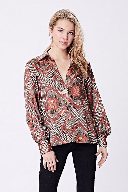 Brown Silk Patterned Shirt Blouse