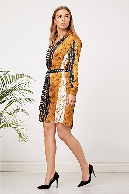 Black and Chain Print Satin Shirt Dress