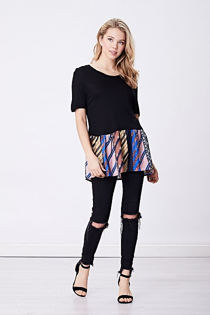 Black and Chain Print Peplum Top