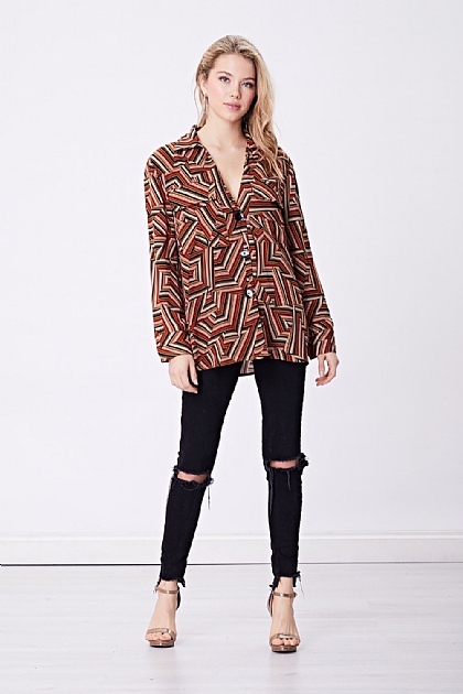 Burgundy Geometric Striped Blouse Shirt