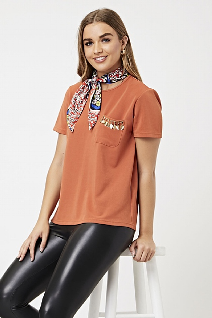 Burnt Orange T-Shirt with Printed Satin Neck Tie Scarf