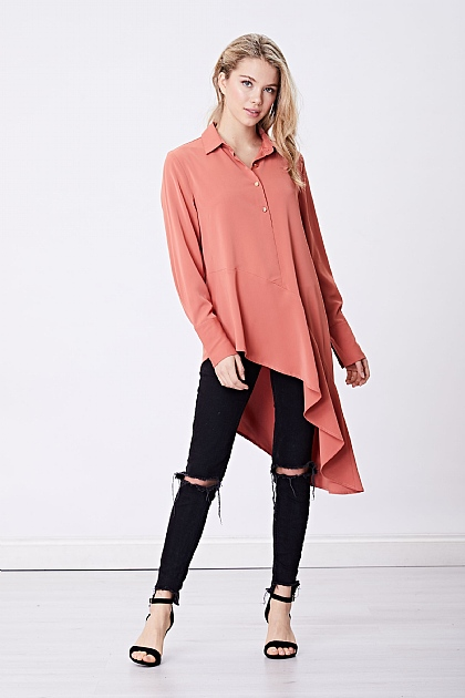 Rust Pink Long Sleeve Asymetric Shirt