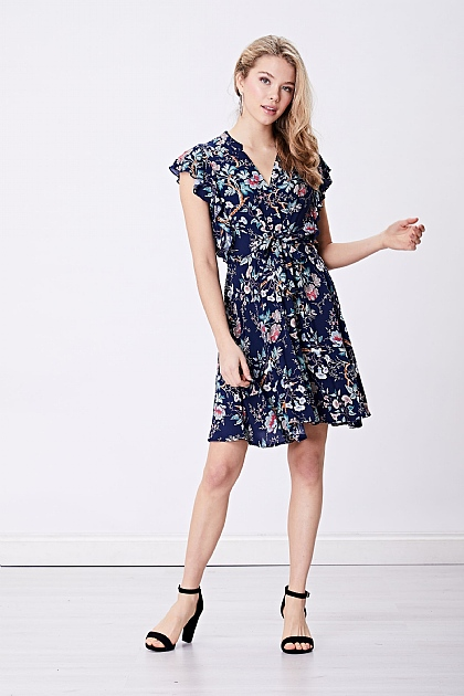 Navy Floral Shirt Tie Mini Dress