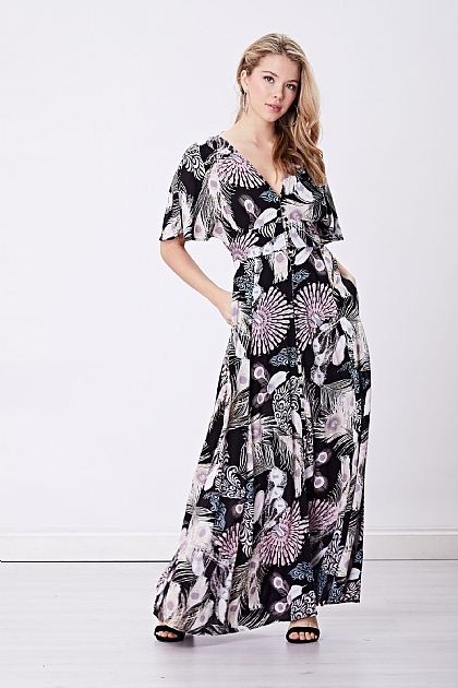 Black Feather Print V Neck Maxi Dress