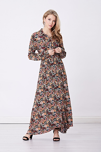 Multi Floral Long Sleeved Shirt Maxi Dress