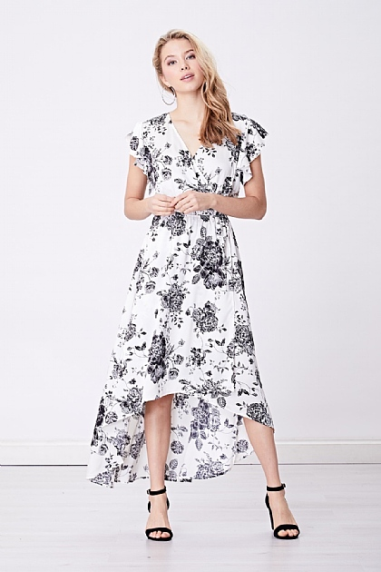 White Satin Floral Wrap Front Midi Dress