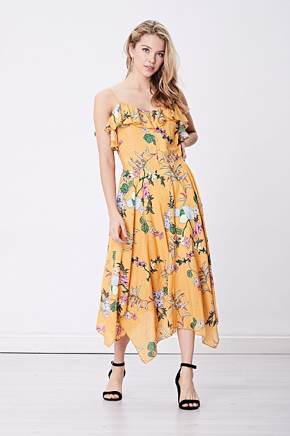 Yellow Floral Ruffle Cami Midi Dress