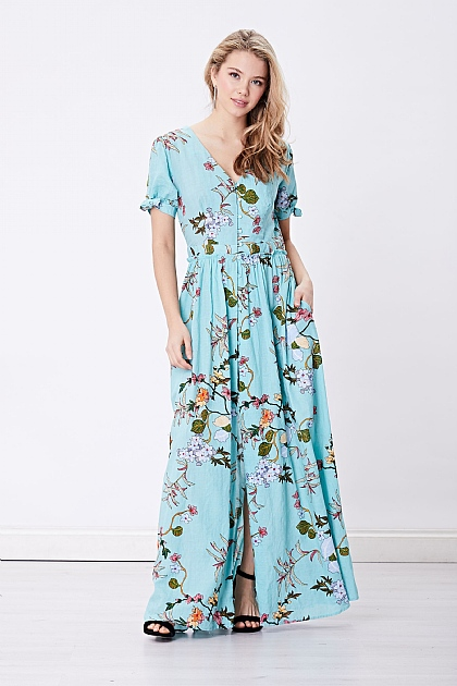 Light Turquoise Floral Maxi Dress