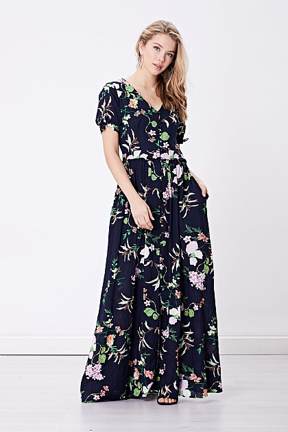 Navy Blue Floral Cami Maxi Dress