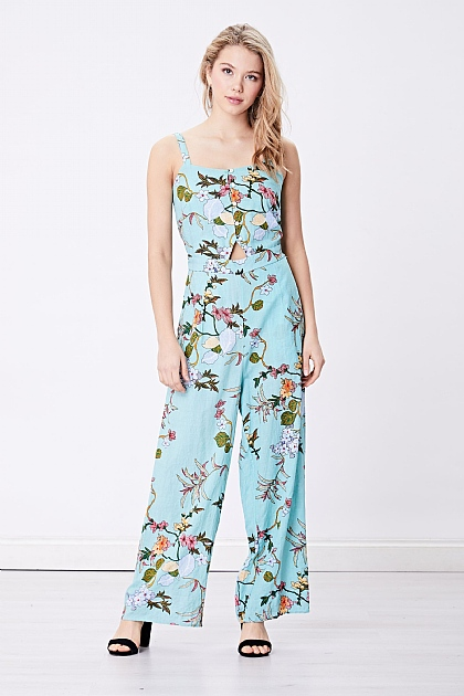 Light Turquoise Floral Cami Jumpsuit