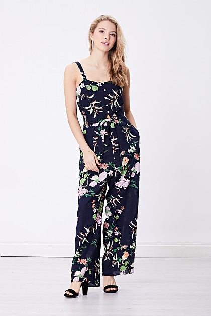 Navy Blue Floral Cami Jumpsuit