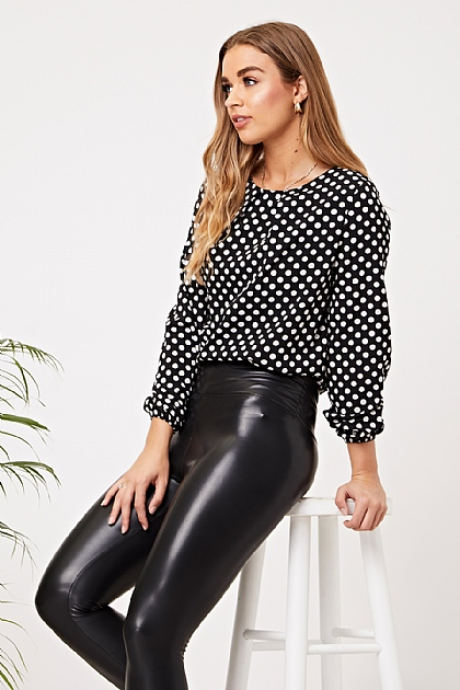 Black Polka Dot Long Sleeved Blouse