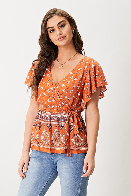 Orange Floral Pattern Buttoned Butterfly Sleeve Top
