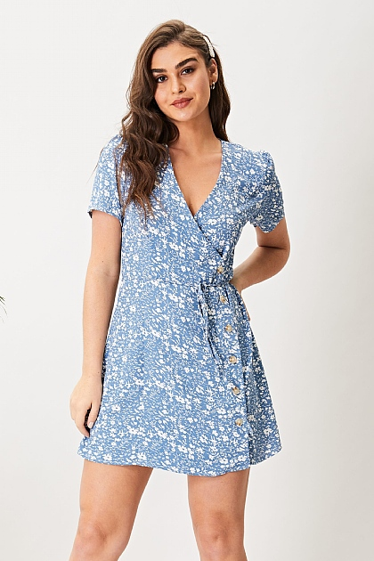 Light Blue Floral Mini Wrap Dress