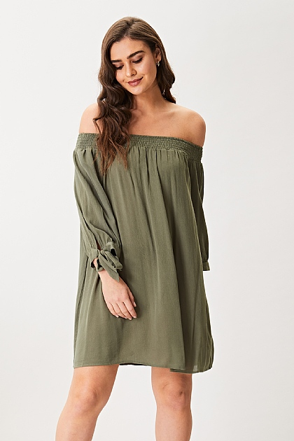 Khaki Green Off Shoulder Mini Dress